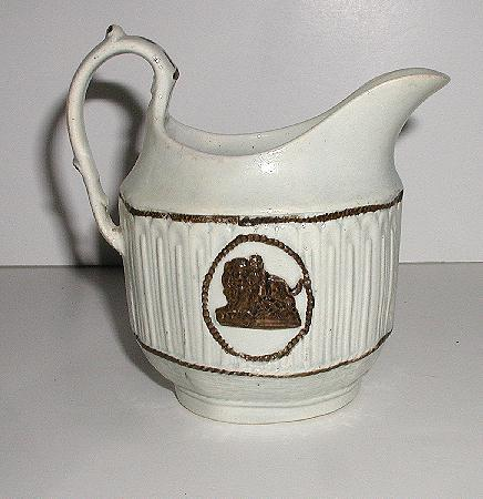 Old 19th Century Staffordshire Pratt Ware Creamer Double Sided Cameos In Relief Lion & Child Paneled Fluting Basketweave
