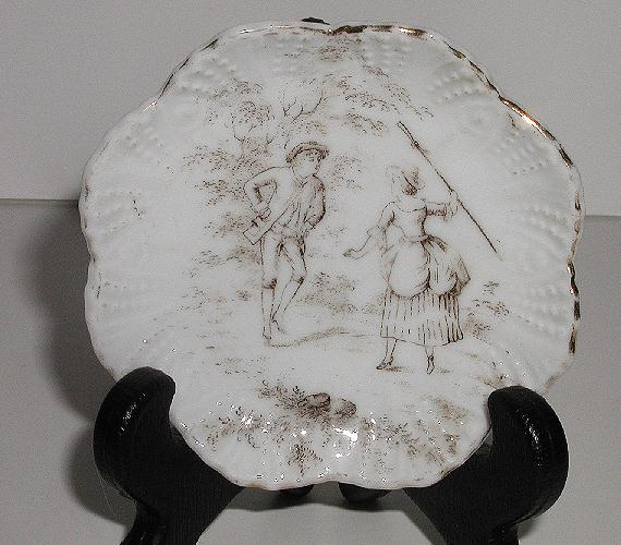 Old 1800s Staffordshire England Brown & White Transferware Butter Pat Man & Woman With  Stick Fluted Beading Scalloped Rim