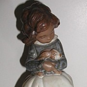 "Adorable Lladro Figurine Tenderness #2094 Girl With Bunny 8.25"" Retired 2000 Large"