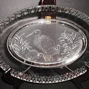 Old 1800s EAPG Early American Pattern Glass Intaglio Heron Tray Platter Lillies Of The Valley