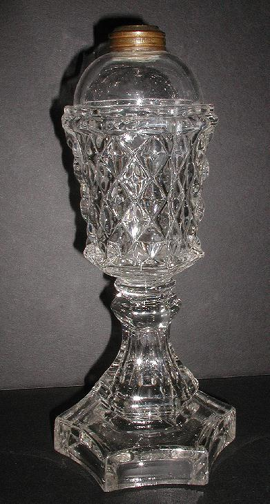 Large EAPG Sandwich Glass Whale Oil Lamp 1800s Diamond Pattern