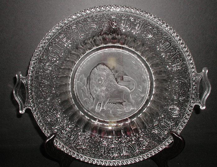 1800s EAPG Intaglio Frosted Lion Bread Round Two Handle Tray Give Us This Day Our Daily Bread