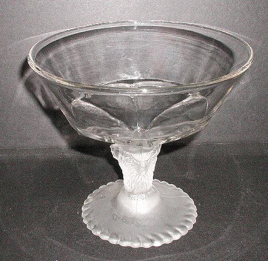 1875 Gillinder & Sons Glass EAPG Frosted Lion Pattern Compote
