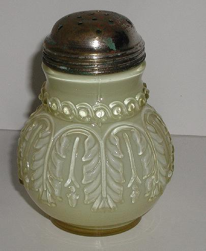 Exquisite Victorian 1889 Northwood Leaf Umbrella Sugar Shaker White Cased Pale Yellow Embossed