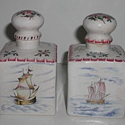 Pair 18th Century Marseilles France Faience Marked Veuve Perrin Hand Painted Square Cork Stopper Bottles Ships Floral