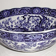 1800s Magnificent Dark Blue & White Porcelain Oriental Bowl Central Bird Flowers Trees Scalloped Fluted 12""