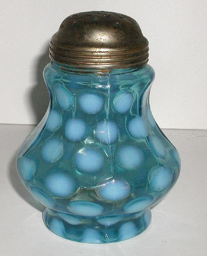 Exquisite Victorian 1800s Blue Opalescent Sugar Shaker Coin Spot Dot Nine Panel Mold