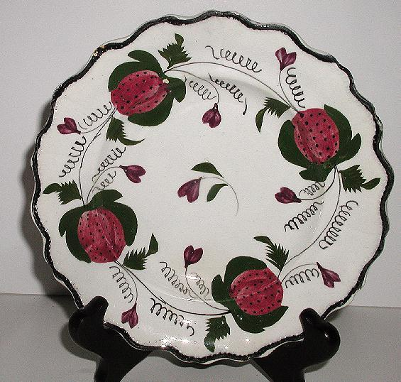 "1800s Rarely Seen Staffordshire Creamware Hand Painted Red Strawberries Green Vines Leaves 6.75"" Plate Embossing Scalloped"