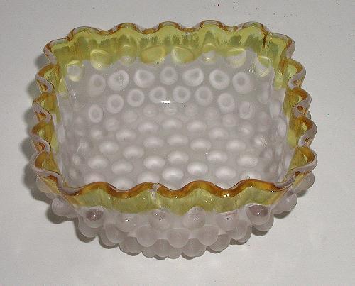 1880 EAPG Hobbs Brockunier & Co Frances Ware Frosted Hobnail Dewdrop Bowl