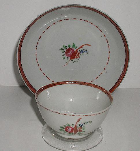 Old 1800s Staffordshire Handleless Tea Bowl & Saucer Hand Painted Flowers