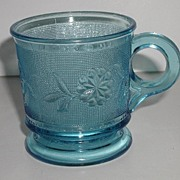 Scarce 1800s EAPG Glass Blue Dahlia Flower Handled Pedestal Mug Textured Finish