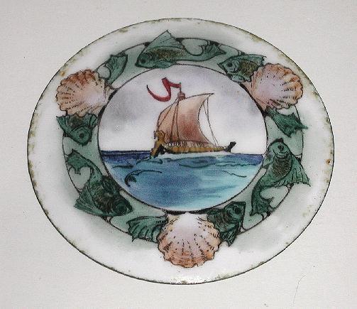Hand Painted Round Porcelain plaque Viking Ship Fish Sea Shells