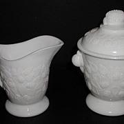 1800 EAPG Milkglass Milk Glass Hobbs Brockunier Blackberry Creamer & Sugar