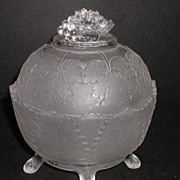 1800s EAPG Oval Satin Glass Tree Branch Footed Grape Leaf Covered Candy Dish Grape Bunch Lid Finial
