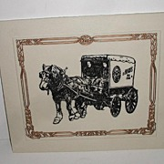H. P. Hood Ice Cream Milk MarbleArt Vermont White Etched Marble Plaque Horse Drawn Delivery Wagon