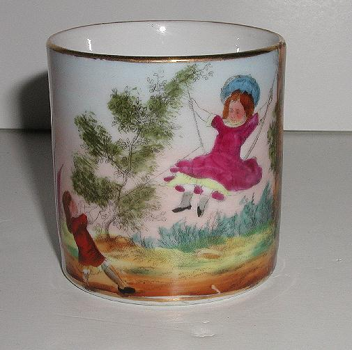 1800s Hand Painted German Child's Mug Girl Swinging Violet Dresses Gold Trim