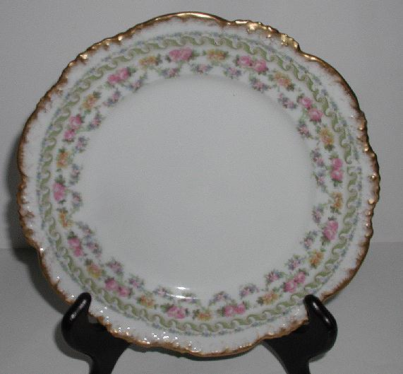 "Jean Pouyat JPL Limoges 7 5/8"" Luncheon Plate Pink Rose Brushed Gold Scalloped Rim Embossed"