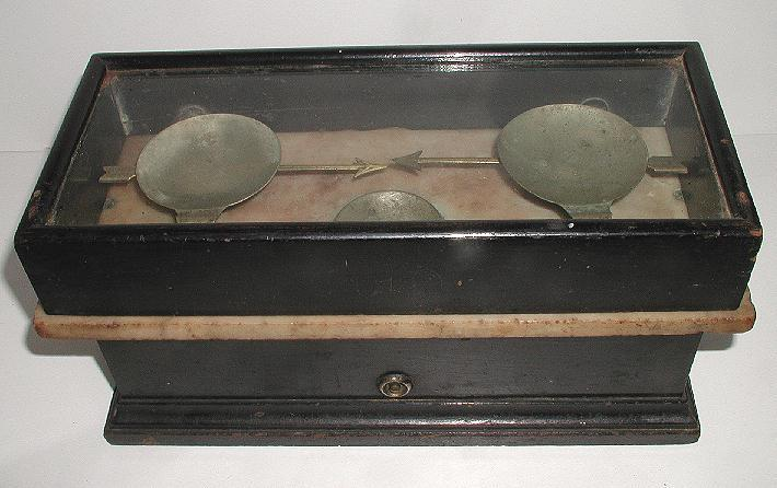 Vintage Henry Troemner #12 Philadelphia  Balance Scale Wood Marble & Glass