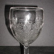 1800s EAPG Bleeding Heart Water Goblet U.S. Glass King Son & Co.