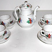 Vintage Occupied Japan Hand Painted 9 Pc Tea Set Floral Berry Gold