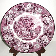"Wood & Sons Enoch Woods English Scenes Purple Transferware 10"" Plate Horse Drawn Cart"