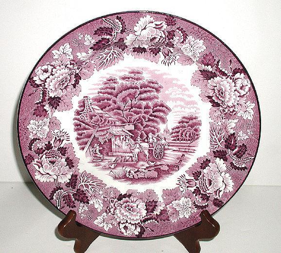 "Wood & Sons Enoch Woods English Scenes Purple Transferware 10"" Plate Horse Drawn Cart"