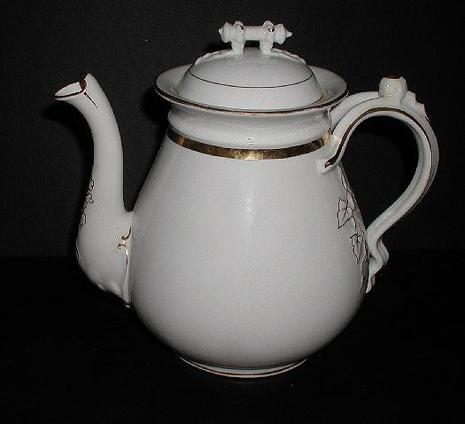 1800s Large Old Paris Porcelain Teapot Gold & White Embossed Leaves