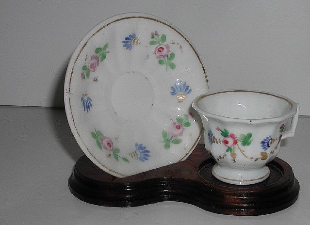 Lovely Staffordshire Creamware Petite Miniature Hand Painted Floral Demitasse Cup & Saucer Fluted Gold