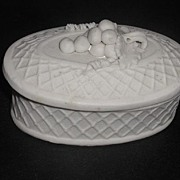1800s Parian Porcelain Trinket Box Applied Grapes Leaves Vines  Raised Cross Hatch Design