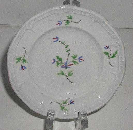 1800s Staffordshire Floral Cup Plate Blue Green Red Embossing