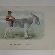 Vintage Black Americana  Postcard Boy On Donkey Mule Go Way Back An Sit Down