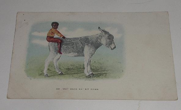 Vintage Black Americana  Postcard Boy On Donkey Mule Go Way Back An Sit Down