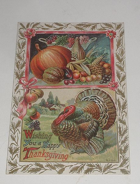 Vintage 1919 Thanksgiving Postcard Colorful Turkey And Produce