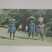 Vintage Haiti Postcard Women On Way Home After Shopping