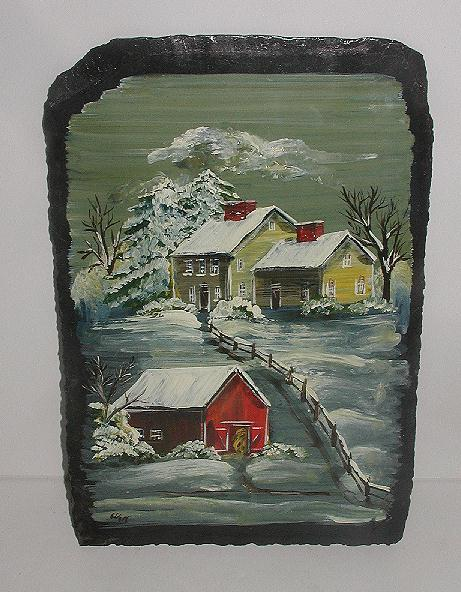 Wonderful Artist Signed Jan McCulloch Ashford CT Oil On Slate Winter House & Barn Scene Painting DETAILED & Vivid
