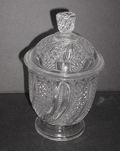 Early American Pattern Glass EAPG Feather Pattern Covered Sugar Bowl