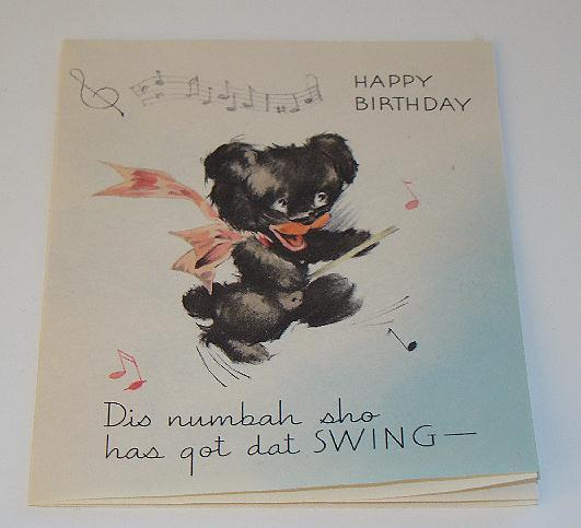 Vintage Black Americana Black Bear Caricature Birthday Greeting Card Dis Numbah Sho Has Got Dat Swing