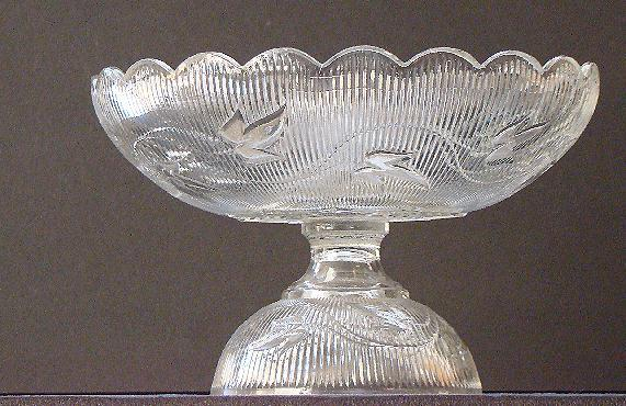 EAPG Early American Pattern Glass Flint Compote Ribbed Ivy Boston & Sandwich Glass Co. 1850