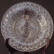 """Wonderful EAPG Early American Pattern Glass Flint 9 1/2"""" Sawtooth Feather Pattern Plate Sandwich Glass Co."""