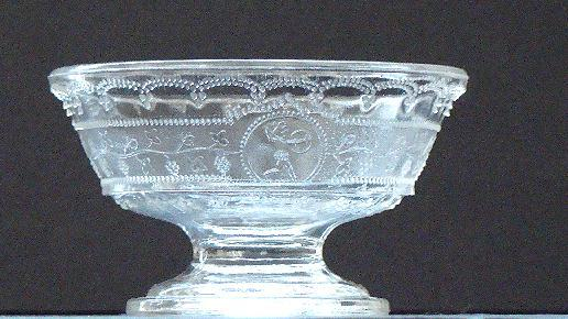EAPG Early American Pattern Glass Footed Sauce Dish Minerva Pattern Boston & Sandwich  1870s
