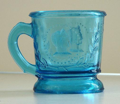 EAPG Early American Pattern Glass Ceres Pattern Blue Mug Atterbury & Co 1870