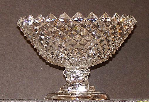 Wonderful Flint 1800s EAPG Early American Pattern Glass Sawtooth Diamond Compote