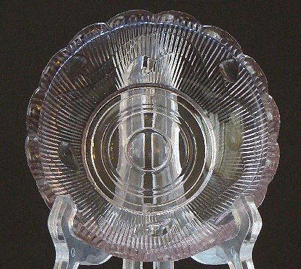 EAPG Early American Pattern Glass Ribbed Acorn Sun Amethyst  Sauce Dish