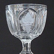 Extremely Scarce Boston & Sandwich EAPG Early American Pattern Glass Flint Glass Magnet & Grape Open Sugar Bowl