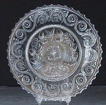 "Wonderful EAPG Early American Pattern Sandwich Glass 6"" Lacy Flint Acorn Scrolls Serrated Edge Plate 1800s"