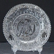 EAPG Sandwich Early American Pattern Glass Flint Eagle Cup Plate 5 Stars Serrated Rim