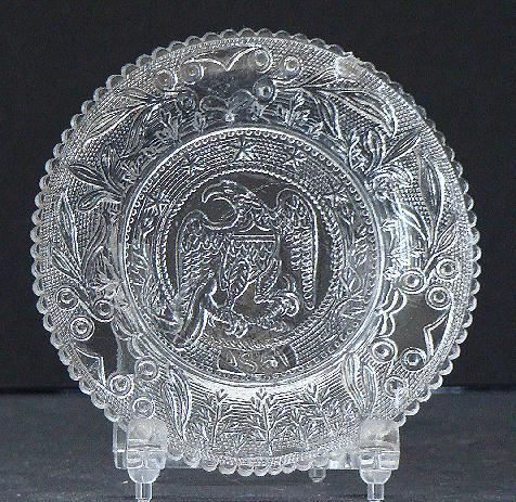 EAPG Sandwich Early American Pattern Glass Flint Eagle Cup Plate 5 Stars Serrated Rim