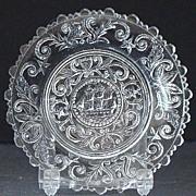 Boston & Sandwich Lacy Flint Cup Plate Lafayette's Cadmus 1800s