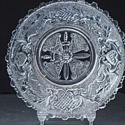 Amazing Boston & Sandwich Lacy Flint Glass 1800s Maltese Cross & Sword Sauce Dish