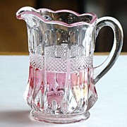 EAPG Early American Pattern Glass Virginia Banded Portland Clear With Rose Blush Creamer